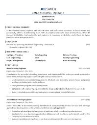 Mechanical Engineering Resume Examples Fascinating Resume Manufacturing Engineer Sample Engineering Resume