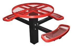 46 ada compliant single post thermoplastic metal round picnic table 3 seats inground