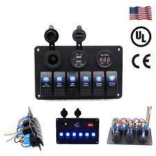 toggle switch panel 12v 6 gang waterproof blue led race marine toggle switch panel boat car circuit