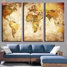 3 piece wall art world map