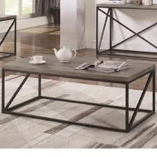 modern style sonoma grey metal base wood top coffee table living room home decor