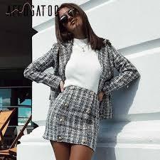 Affogatoo Casual <b>plaid tweed</b> Two piece blazer skirt suits <b>women</b> ...