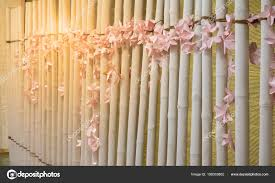 Interior Design Concept Paper Light Pink Artificial Flower Made Paper Decorate Wall Bamboo