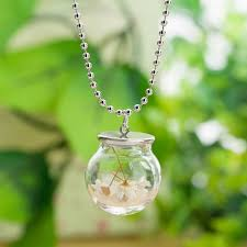 glass bottle ball chain dried flower pendant necklace transpa chinese painting neck chian long alvarezm