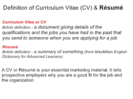 meaning of cv resumes