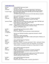 Senior Qa Engineer Sample Resume Interesting Sr QAQC Mechanical Engineer