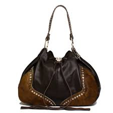 details about raviani western brown pebble grain brindle leather drawstring bag w crystals