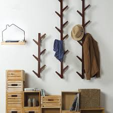 6 Hook Wall Coat Rack 100 Hooks Vintage Bamboo Wooden Hanging Coat Hook Hanger Branch Shape 22