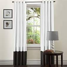 Lush Decor Prima Color Block White and Black Window Curtains Panel Set for Living, Dining Room, Bedroom (Pair), 54-inch x 84-inch,