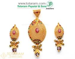22k gold pendant earring set with ruby garnet 235 gps081