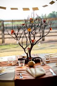 Cool Dining Table Centerpieces : Cool Outdoor Dining Table Decor Idea With  Brown Branches And Flowers