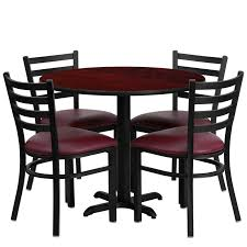 36 round mahogany laminate table set with 4 ladder back metal chairs burdy vinyl