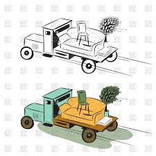 Truck with furniture concept of moving or delivery Vector