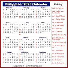 philippines 2020 yearly printable calendar