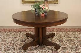 oak 4 round 1900 antique pedestal dining table 6 leaves