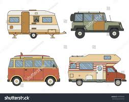 Camper Cars Rv Auto Set Camping Trailer Rv Stock Vector 544794064 Shutterstock