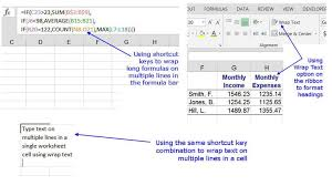 wrapping text and formulas in excel