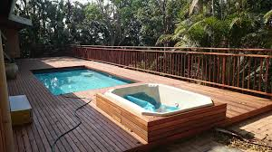 Modern Wood Pool Deck Yard Above Ground Pool Designs Swimming