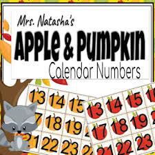 Pacon Calendar Weather Pocket Chart Apple And Pumpkin Calendar Numbers