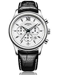 amazon co uk rotary watches rotary men s quartz watch white dial chronograph display and black leather strap gs00347 06