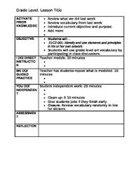 Middle School Lesson Plan Templates Elementary Middle School Lesson Plan Template