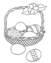Easter Egg Coloring Pages Big Easter Basket With Eggs Holiday