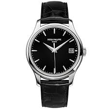 patek philippe patek philippe calatrava 18ct white gold 39mm black dial men s leather strap watch