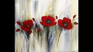 Easy Acrylic Painting/<b>Red Flowers</b>/Flat brush,Fan brush,Palette ...