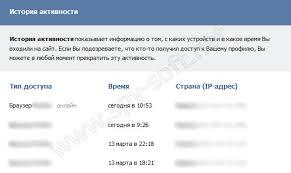 История активности вконтакте или как узнать о взломе страницы история посещений вконтакте