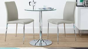 round glass 2 seater dining set faux leather dining chair