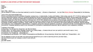 dietary manager job description dietary manager job offer letter