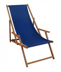 Liegestuhl Blau Sonnenliege Gartenliege Holz Real