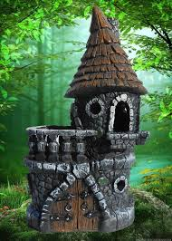 fairy garden castle. Miniature Garden Castle House W Brown Roof And Moat For Fairy Gnome
