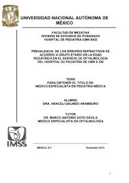 Prevalencia de los errores refractivos de acuerdo a grupo etario en la edad  pediátrica en el Servicio de Oftalmología del Hospital de Pediatría de CMN  SXXI