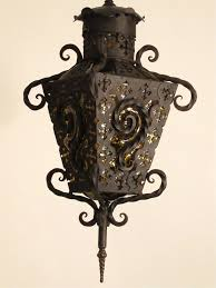 20th century wrought iron and glass lantern pendant light for