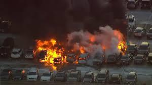 17 cars catch fire at newark airport parking garage