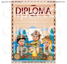 clipart of a school diploma design s camping scout children  clipart of a school diploma design s camping scout children royalty vector illustration by visekart