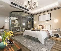 3d Rendering Modernen Luxussuite Mit Schlafzimmer Und Bad Stockfoto