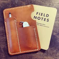 horween leather sleeve for field notes or moleksine with pen card slot koch leather 55