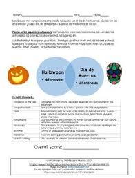 Dia De Los Muertos And Halloween Venn Diagram Day Of The Dead And Halloween Comparison Composition Spanish