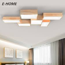 Modern simple solid wood ceiling lamp LED creative rectangular DIY  combination atmosphere living room bedroom lighting