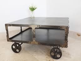 industrial metal coffee table on wheels