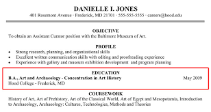 Writing Your Resume Hood College Enchanting Resume Education Example