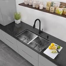 alma 32 inch undermount 50 50 double bowl 16 gauge stainless steel kitchen sink
