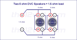subwoofer wiring diagrams two 6 ohm dual voice coil dvc speakers option 3 series parallel 6 ohm load voice coils wired in series speakers wired in parallel recommended amplifier stable at 4 2 or 1 ohm mono