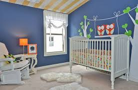 ... Chic contemporary nursery in newburyport blue with cool wall decal  [Design: Signature Homes]