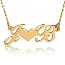 14k gold initial necklace double hearts luxe script