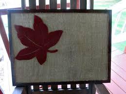 burlap bulletin board with leaf