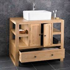 multi storage oak vanity unit with
