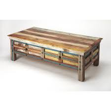 butler specialty reverb coffee table in painted multicolor acacia mango wood